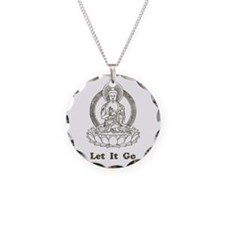 Vintage Buddha Let It Go Necklace Circle Charm