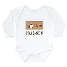 I Like Horses Long Sleeve Infant Bodysuit