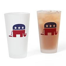 Elephant Pooing Donkey Drinking Glass