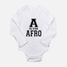 A is for Afro Long Sleeve Infant Bodysuit