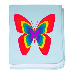 Rainbow Butterfly baby blanket