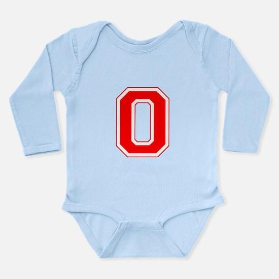 Varsity Font Number 0 Red Long Sleeve Infant Bodys