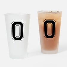 Varsity Font Number 0 Black Drinking Glass