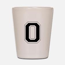 Varsity Font Number 0 Black Shot Glass