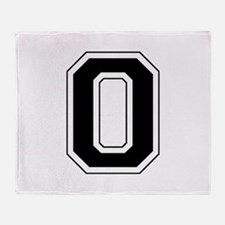 Varsity Font Number 0 Black Throw Blanket