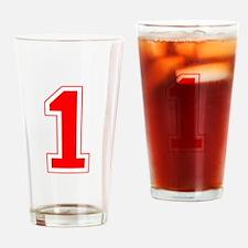 Varsity Font Number 1 Blue Drinking Glass