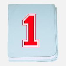 Varsity Font Number 1 Blue baby blanket