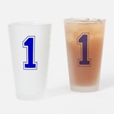 Varsity Font Number 1 Blue Drinking Glass