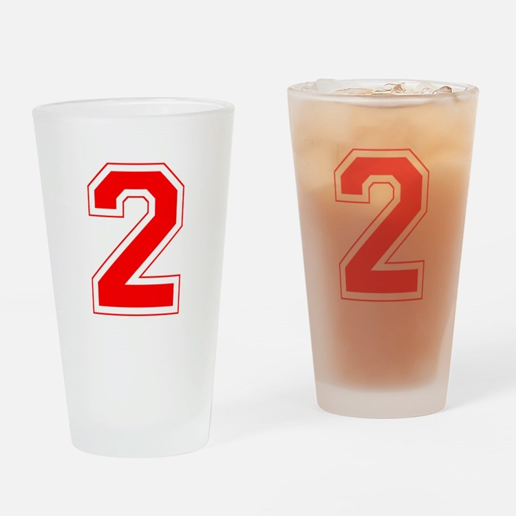 Varsity Font Number 2 Red Drinking Glass