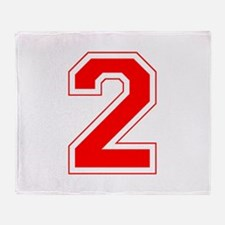 Varsity Font Number 2 Red Throw Blanket