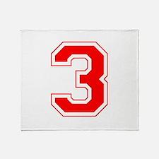 Varsity Font Number 3 Red Throw Blanket