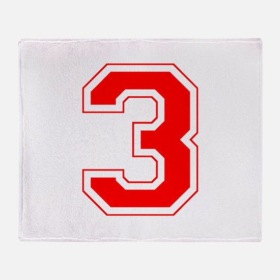Varsity Font Number 3 Red Throw Blanket