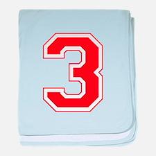 Varsity Font Number 3 Red baby blanket