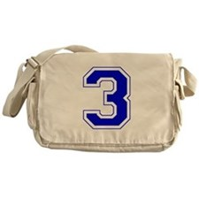 Varsity Font Number 3 Blue Messenger Bag