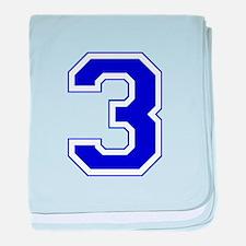 Varsity Font Number 3 Blue baby blanket
