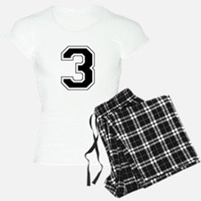 Varsity Font Number 3 Black Pajamas