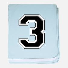Varsity Font Number 3 Black baby blanket