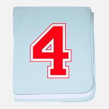 Varsity Font Number 4 Red baby blanket