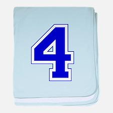 Varsity Font Number 4 Blue baby blanket