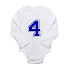 Varsity Font Number 4 Blue Long Sleeve Infant Body
