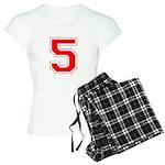 Varsity Font Number 5 Red Women's Light Pajamas