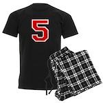 Varsity Font Number 5 Red Men's Dark Pajamas