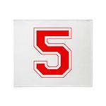 Varsity Font Number 5 Red Throw Blanket