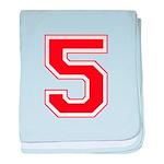 Varsity Font Number 5 Red baby blanket
