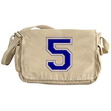 Varsity Font Number 5 Blue Messenger Bag