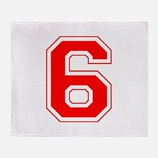 Varsity Font Number 6 Red Throw Blanket