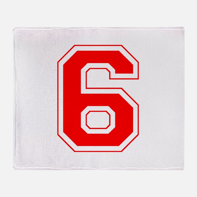 Varsity Font Number 6 Red Throw Blanket