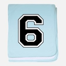 Varsity Font Number 6 Black baby blanket