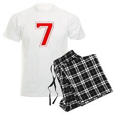 Varsity Font Number 7 Red Pajamas