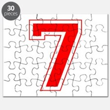 Varsity Font Number 7 Red Puzzle