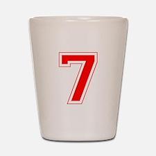 Varsity Font Number 7 Red Shot Glass