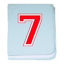 Varsity Font Number 7 Red baby blanket