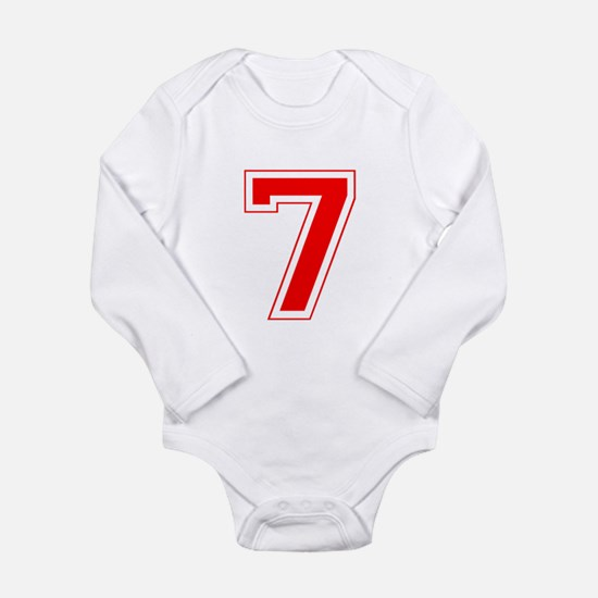 Varsity Font Number 7 Red Long Sleeve Infant Bodys