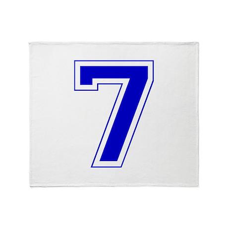Varsity Font Number 7 Blue Throw Blanket