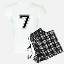Varsity Font Number 7 Black Pajamas