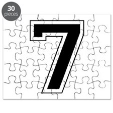 Varsity Font Number 7 Black Puzzle