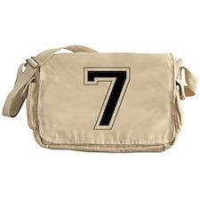 Varsity Font Number 7 Black Messenger Bag