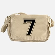 Varsity Font Number 7 Black Messenger Bag