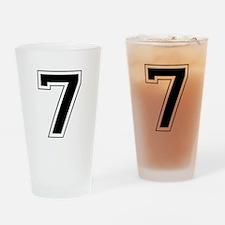Varsity Font Number 7 Black Drinking Glass