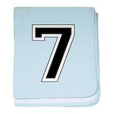 Varsity Font Number 7 Black baby blanket