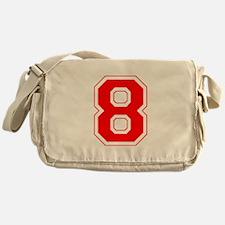 Varsity Font Number 8 Red Messenger Bag