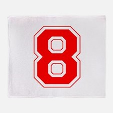 Varsity Font Number 8 Red Throw Blanket