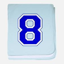 Varsity Font Number 8 Blue baby blanket