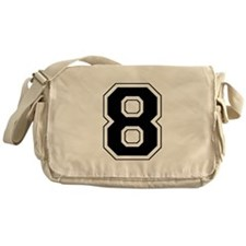 Varsity Font Number 8 Black Messenger Bag