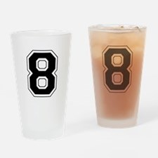 Varsity Font Number 8 Black Drinking Glass