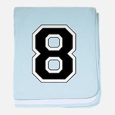 Varsity Font Number 8 Black baby blanket